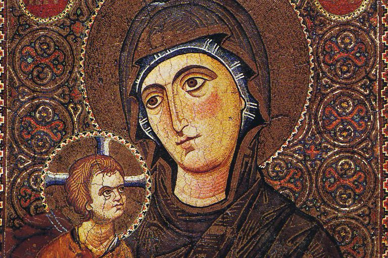 Mary and the child depected as a hodegetria. Tesselated icon in monumental style, early 13th century.