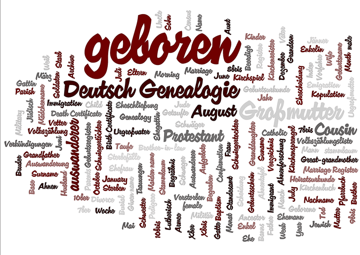 German Genealogical Word List: English Equivalents