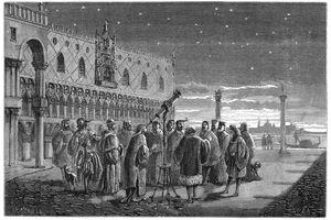 Galileo demonstrating his telescope