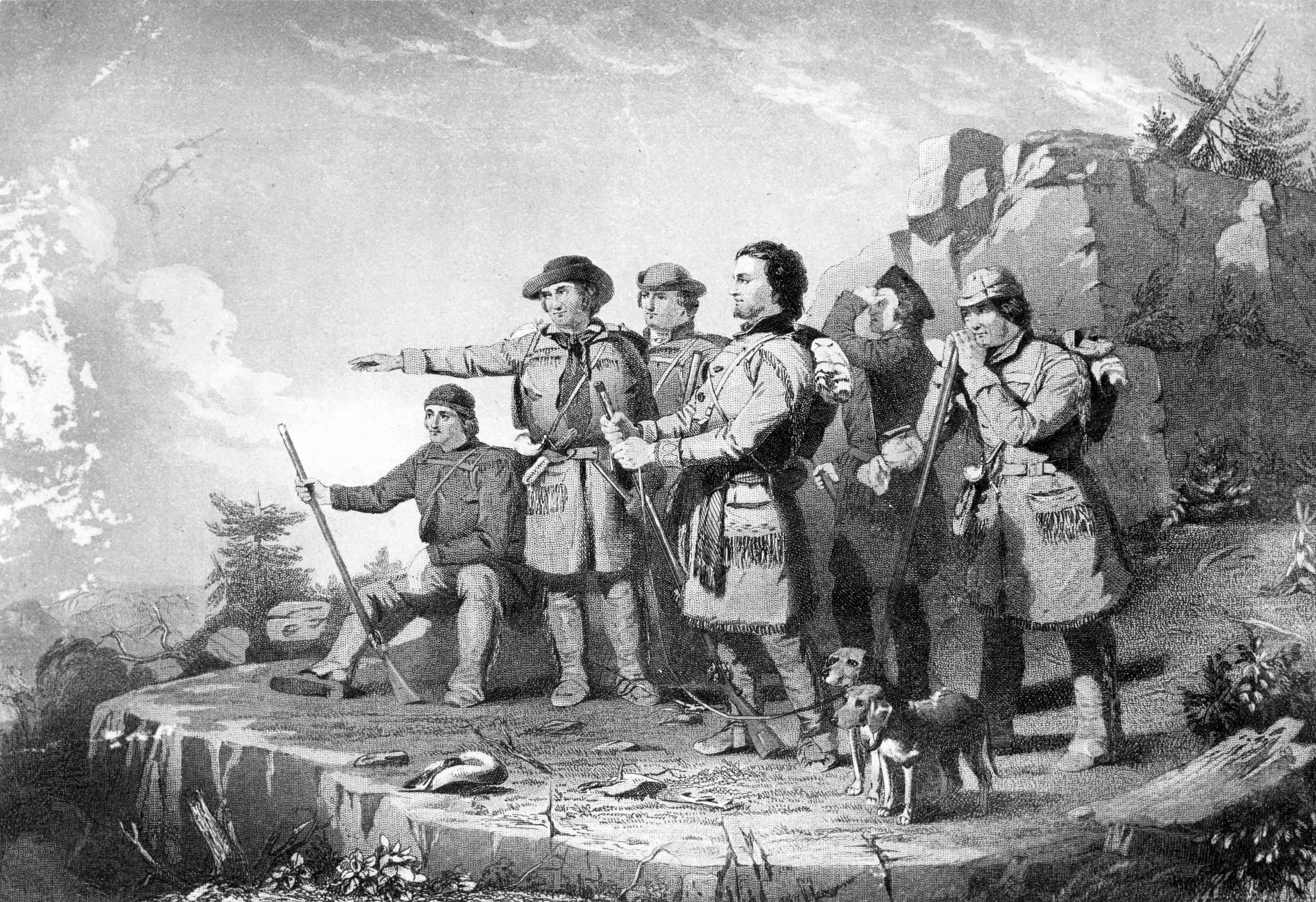 print depicting Daniel Boone seeing Kentucky for the first time