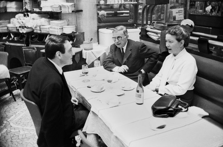 Philosophers Sartre, De Beauvoir, and Director Lanzmann Dining