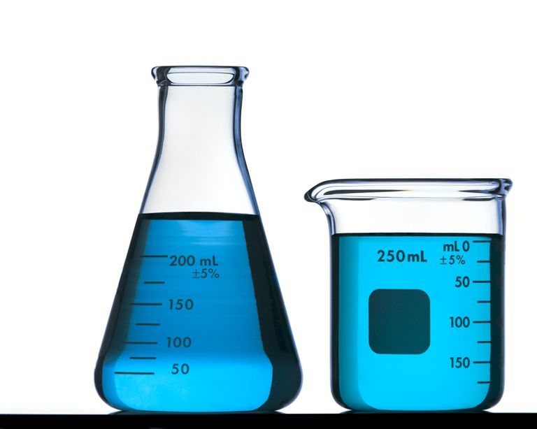 Glassware containing blue liquid