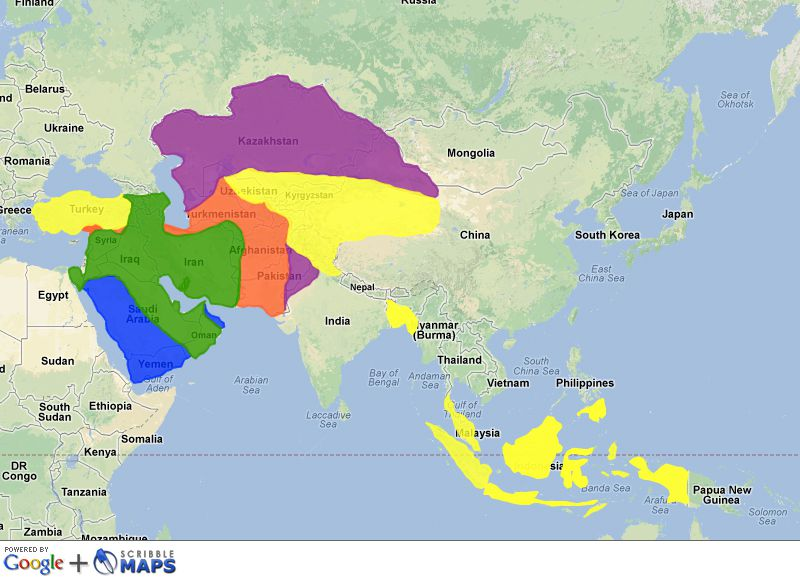 Map Of Modern Asia.The Spread Of Islam In Asia From 632 To Present