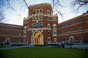 Weatherford Hall at Oregon State University at dusk.