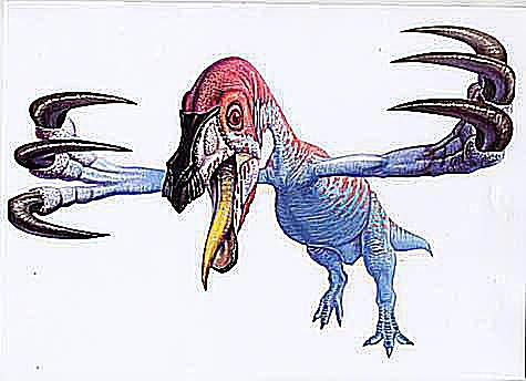An illustration of the <i>Deinocheirus mirificus</i> (Greek for terrible hand) showing its 8-inch arms and 8-inch claws