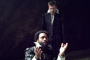 Ewan McGregor as a looming Iago behind Chiwetel Ejiofor's Othello