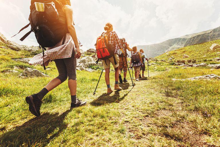 Walking in line in the mountain