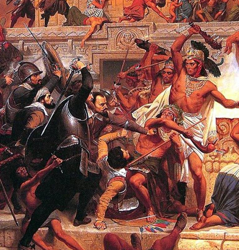 Painting of the storming of the Teocalli by Hernán Cortés and his troops