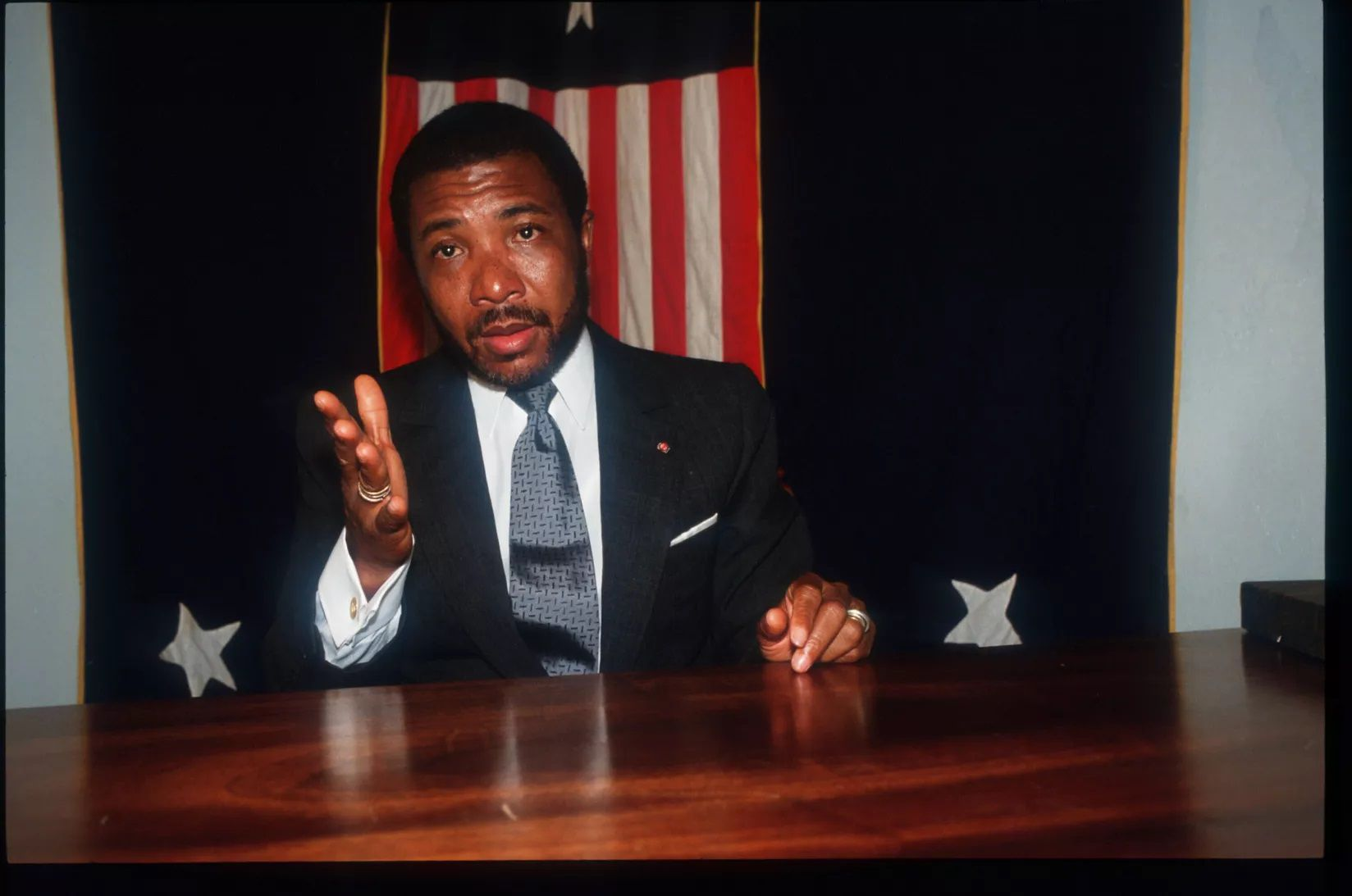 Charles Taylor, then head of the National Patriotic Front of Liberia, speaks in Gbargna, Liberia, 1992.