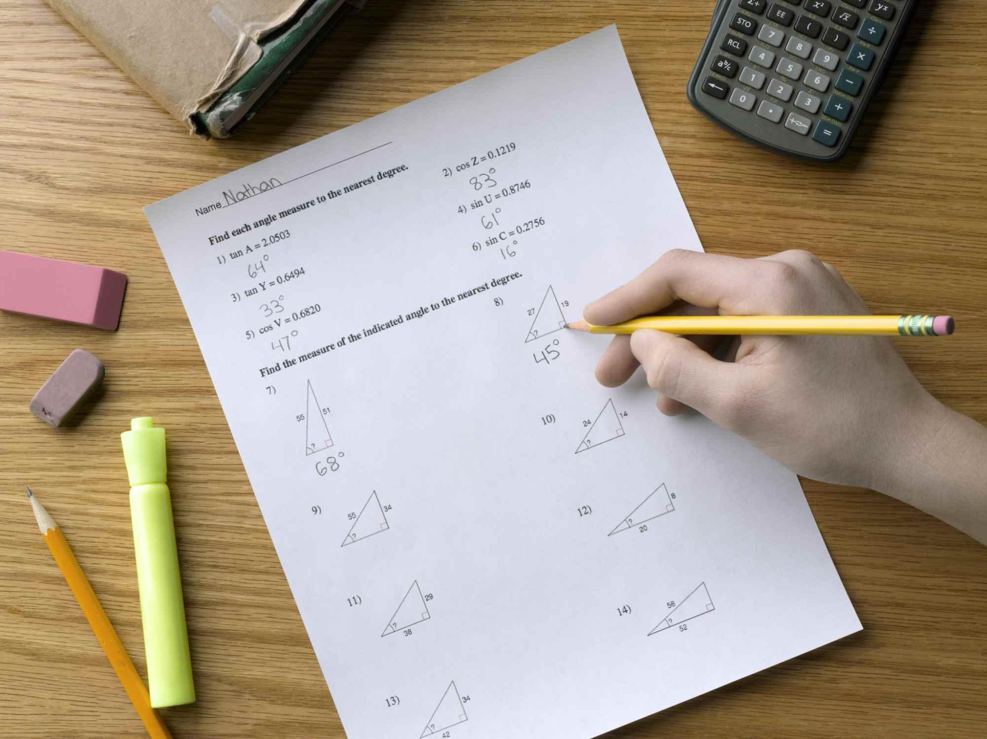 A close-up of a math worksheet.