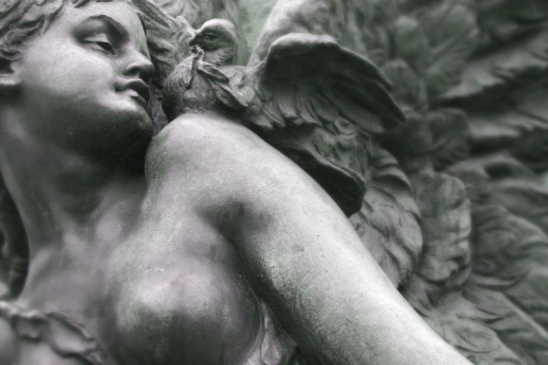 angel and the dove memorial statue detail