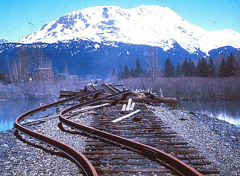 Railroad tracks damaged by 1964 Great Alaska Earthquake.