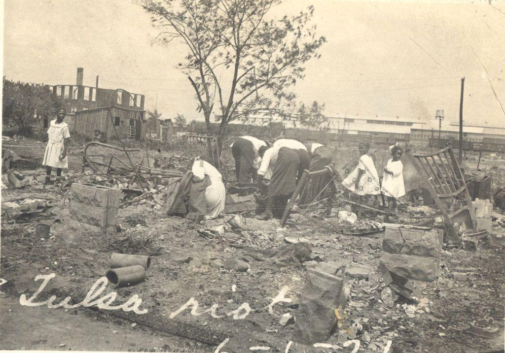 People searching through rubble after the Tulsa Race Massacre, Tulsa, Oklahoma, June 1921.