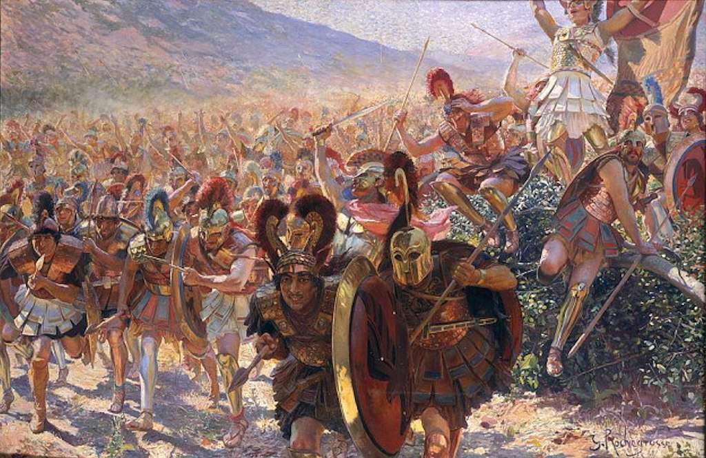 Greek warriors charging in battle.