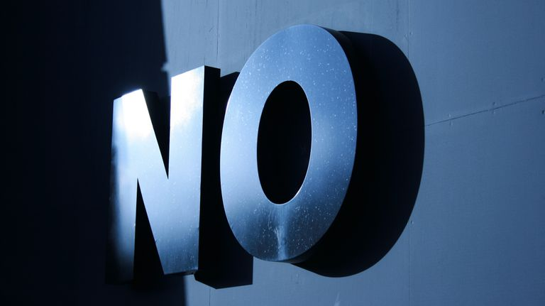 """""""No"""" graphic in bold letters"""