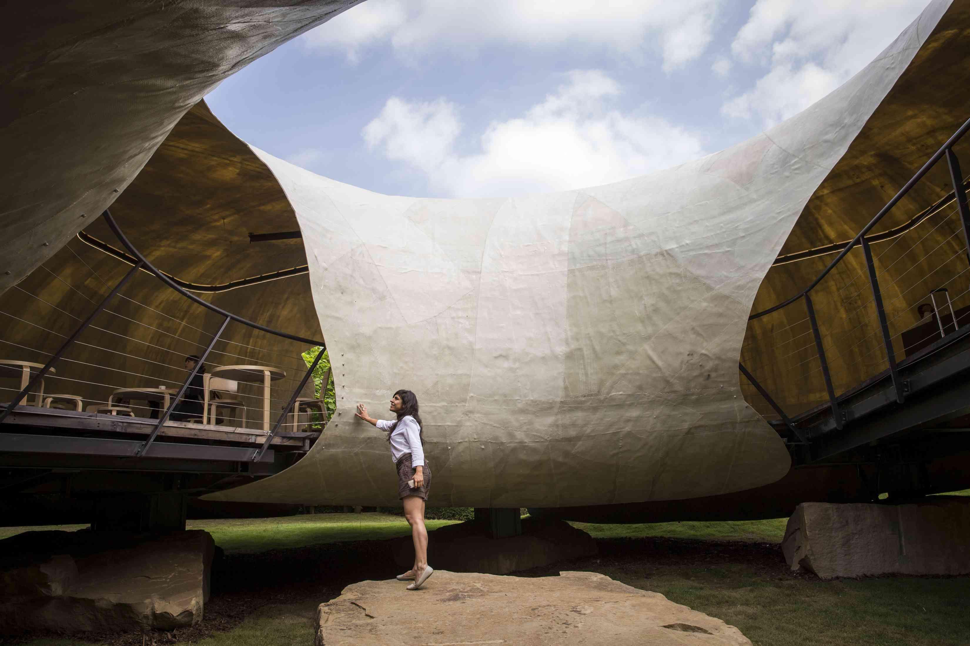 The 2014 Serpentine Pavilion designed by Smiljan Radic in Kensington Gardens on June 24, 2014