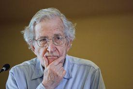 Noam Chomsky close up, full color photograph.
