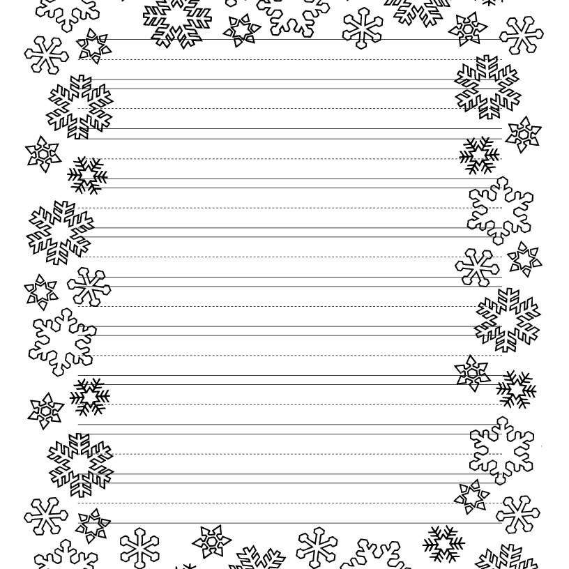 a snowflake border for christmas writing
