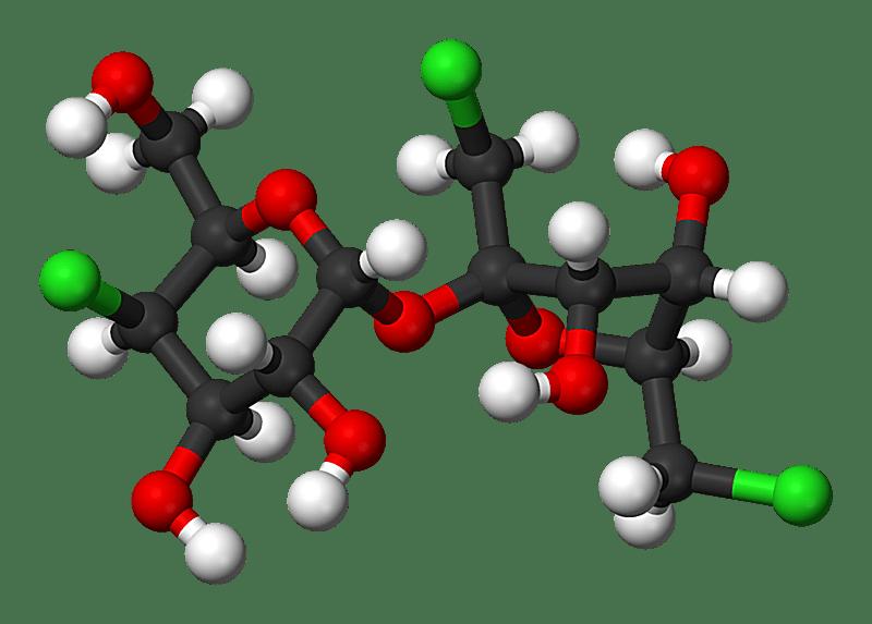 Esta es la estructura molecular de bola y palo de sucralosa o Splenda.