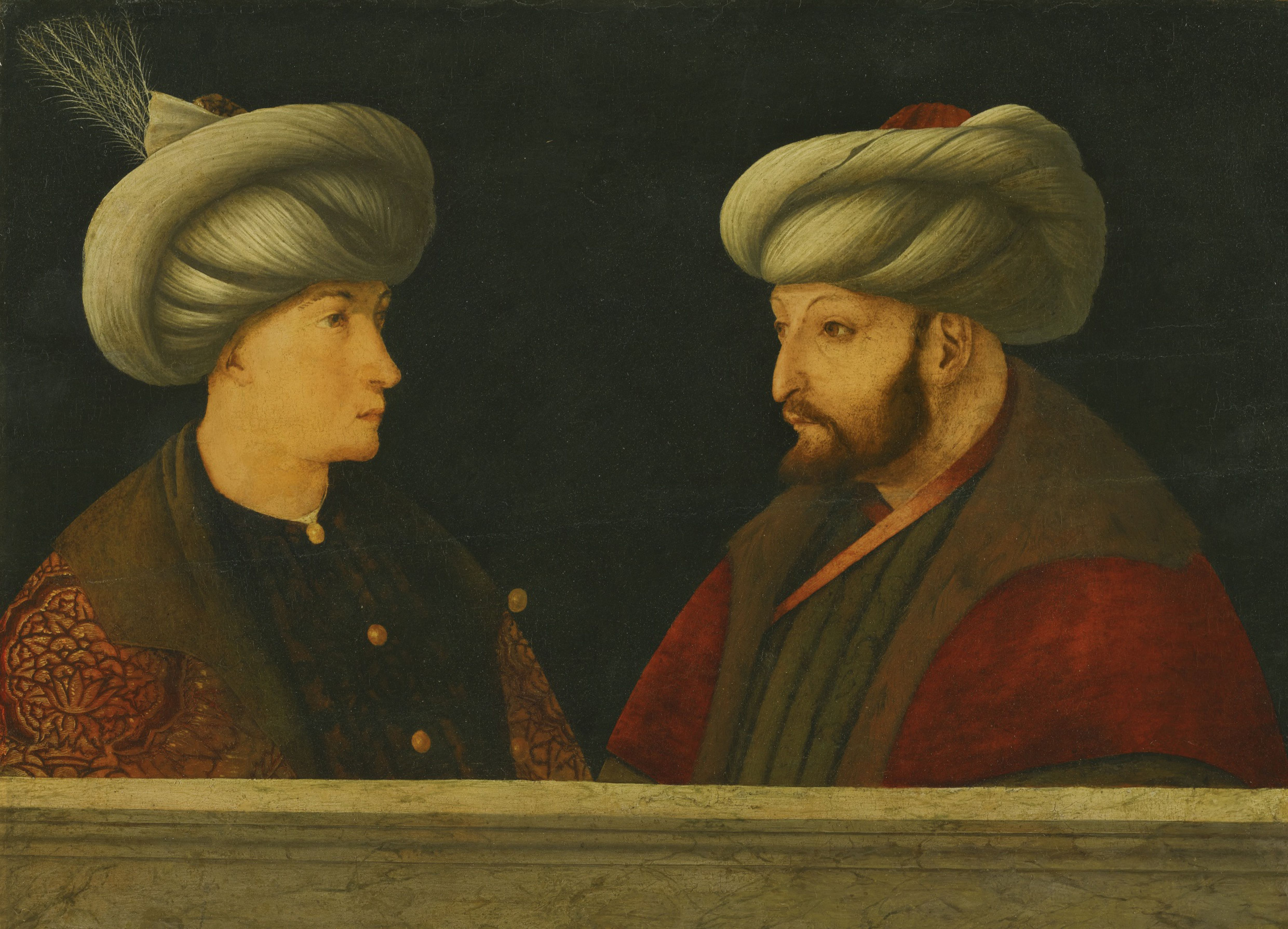 Portrait of Sultan Mehmed II with a young dignitary Artist: Bellini, Gentile, (Follower of)