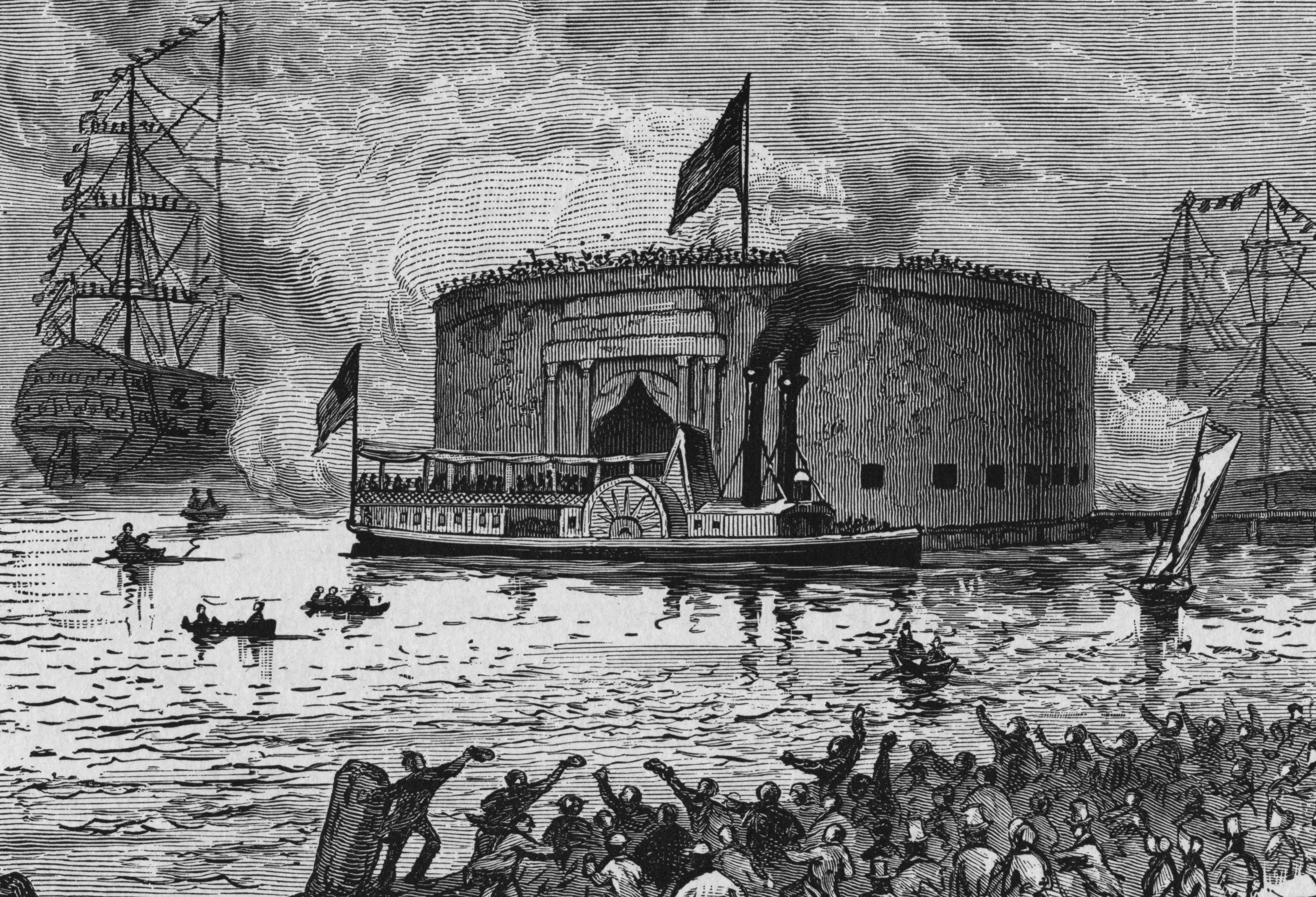 Illustration of Lafayette arriving at New York City in 1824.