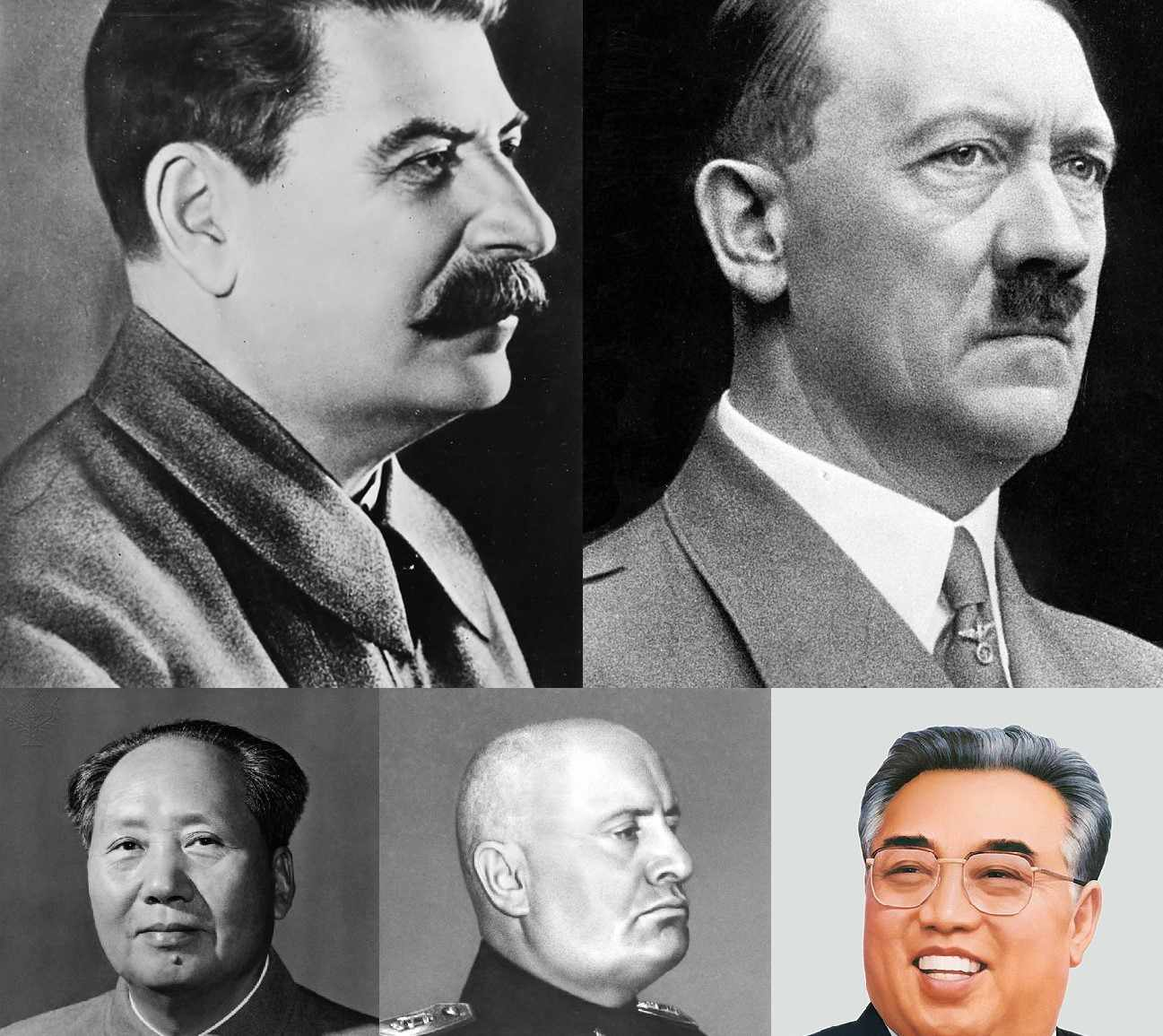 Collage of totalitarian leaders (each row - left to right) Joseph Stalin, Adolf Hitler, Mao Zedong, Benito Mussolini, and Kim Il-sung.