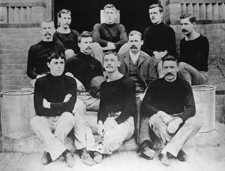 James Naismith with the First Basketball Team