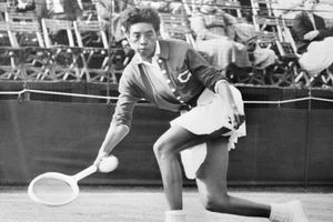 Althea Gibson Competing in Tennis Match