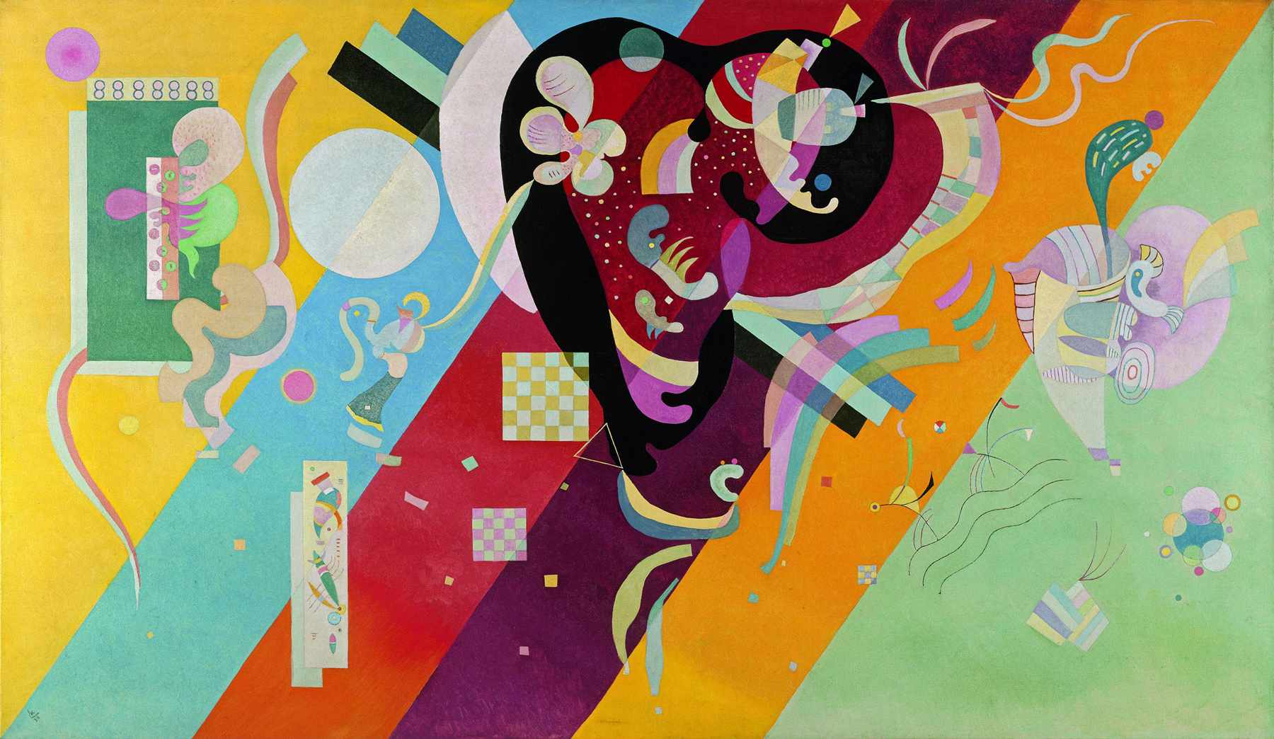 Wassily Kandinsky (Russian, 1866-1944) Wassily Kandinsky (Russian, 1866-1944). Composition IX, 1936. Oil on canvas. 44 5/8 x 76 3/4 in. (113.5 x 195 cm). Government purchase and attribution, 1939. Centre Pompidou, Musée national d'art moderne, Paris.