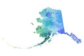 watercolor map of Alaska
