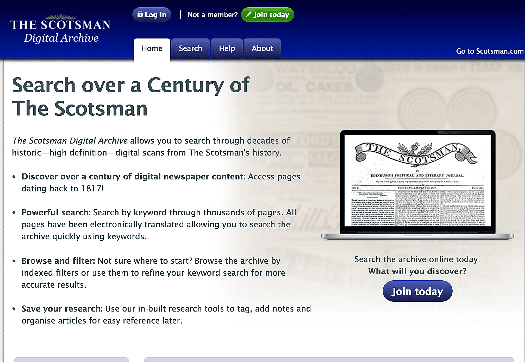 The Scotsman Digital Archive offers searching and browsing of over a century of newspaper content.