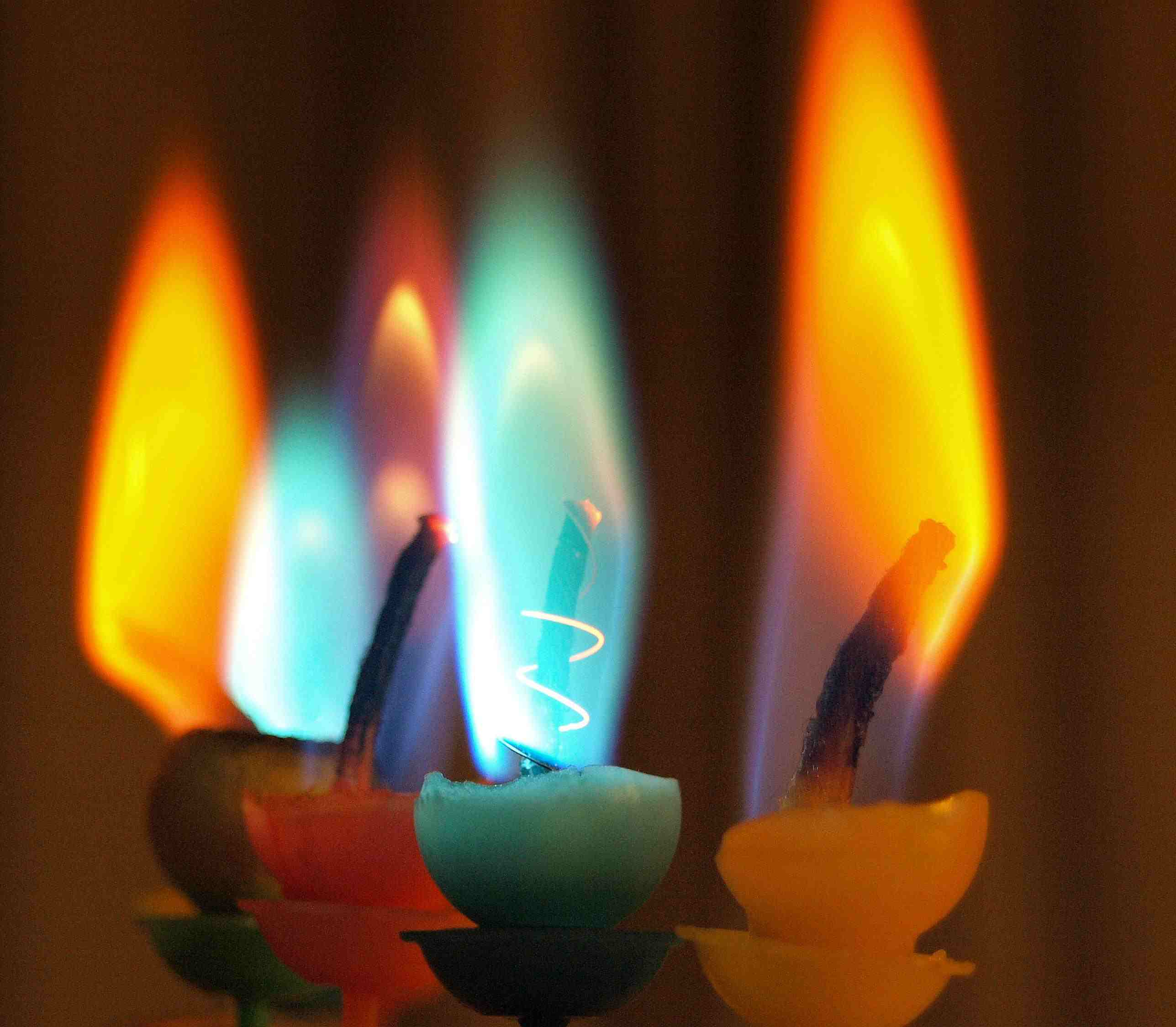 Chemical reactions can change the color of flames.