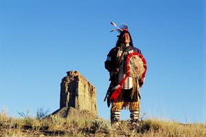 UTE INDIAN CHIEF AT UTE MOUNTAIN TRIBAL PARK IN COLORADO