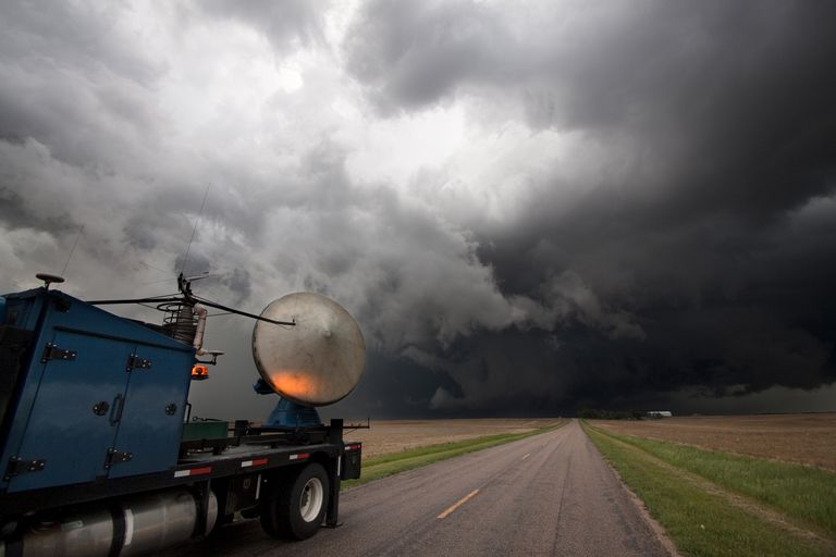 A mobile Doppler radar truck participating in Project Vortex 2 scans a tornado-producing storm in western Nebraska.