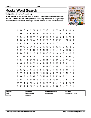rocks word search worksheet beverly hernandez