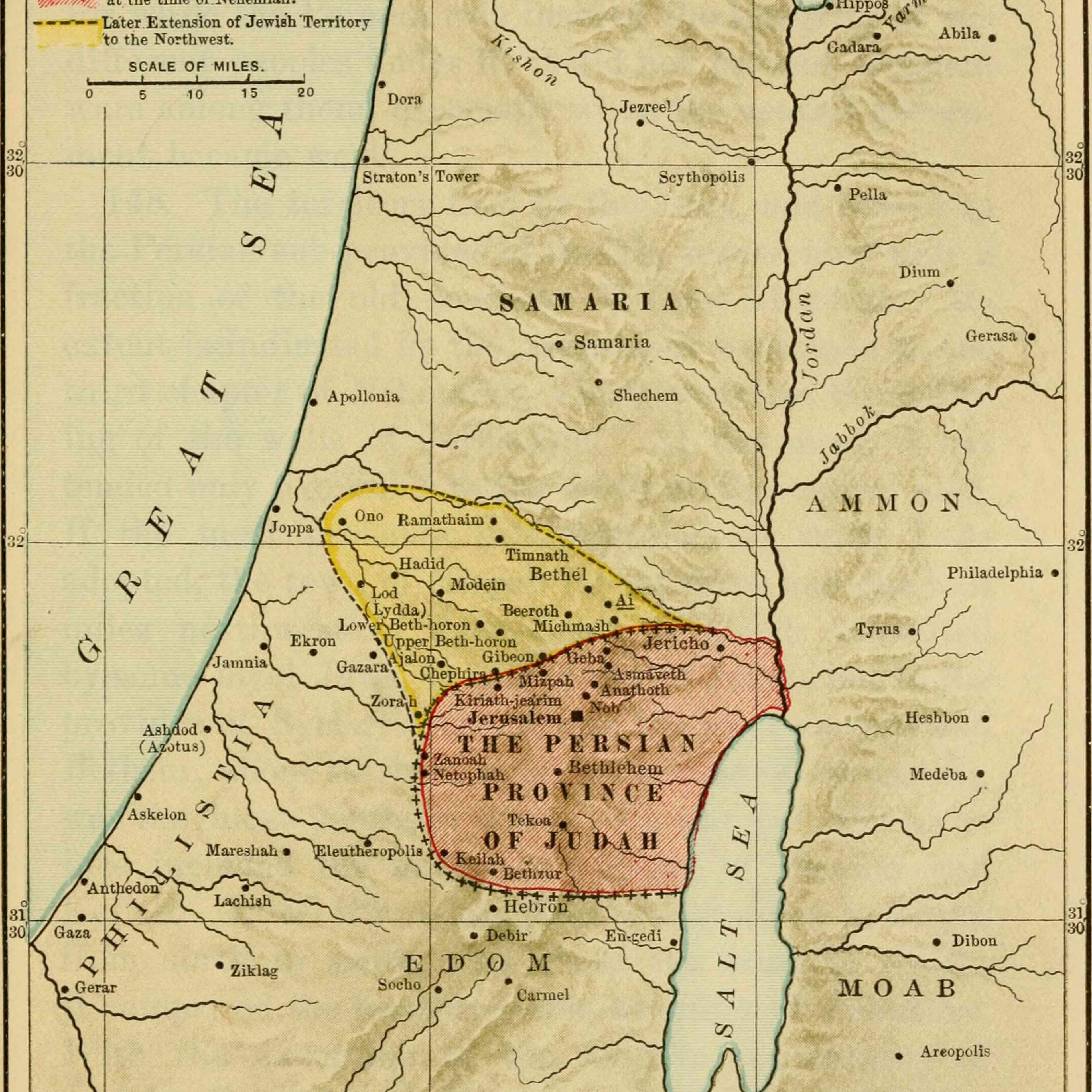 Ancient map of the Levant