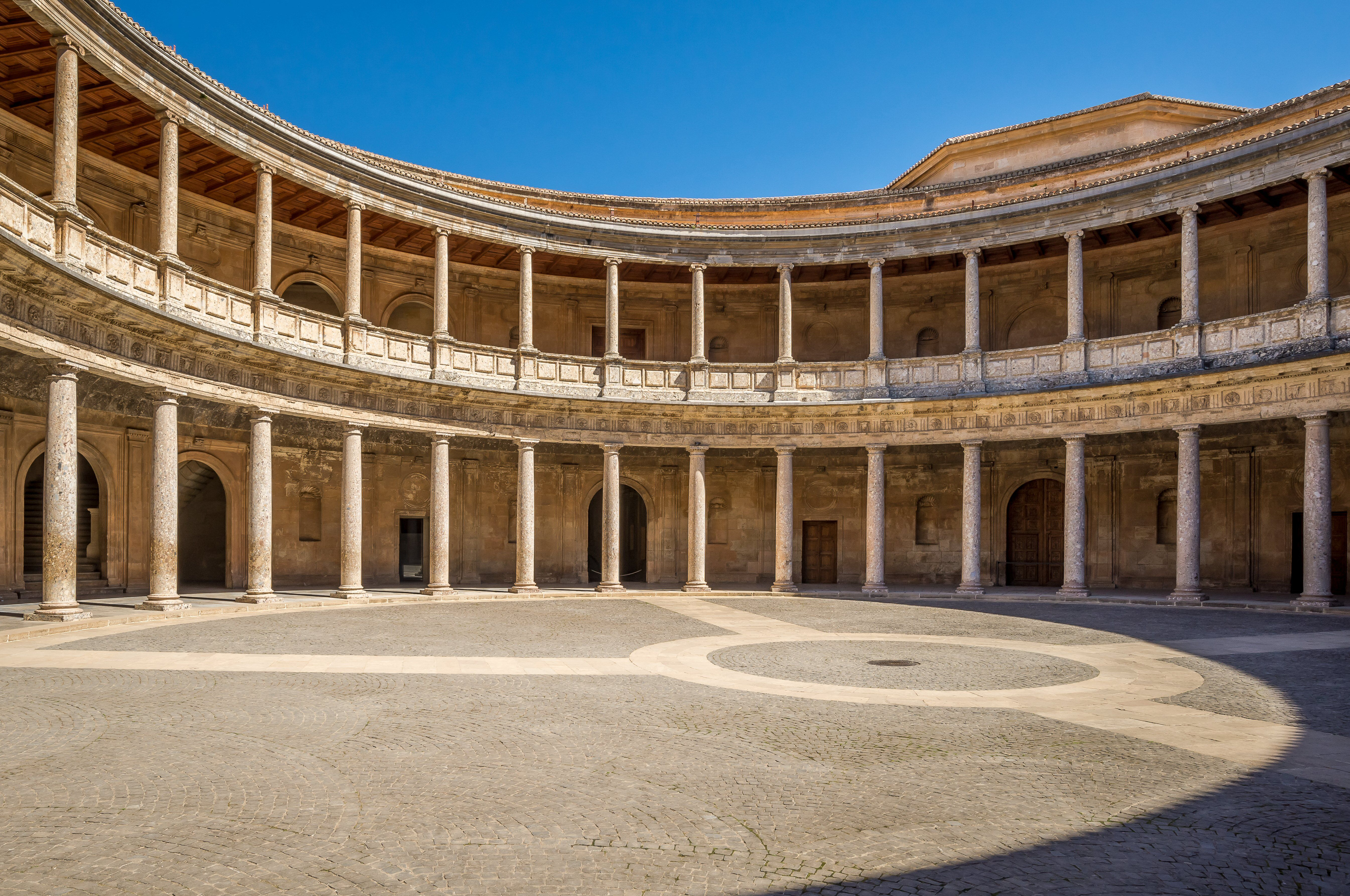 Circular Courtyard surrounded by two-tiered porticos symmetrically formed with Renaissance columns