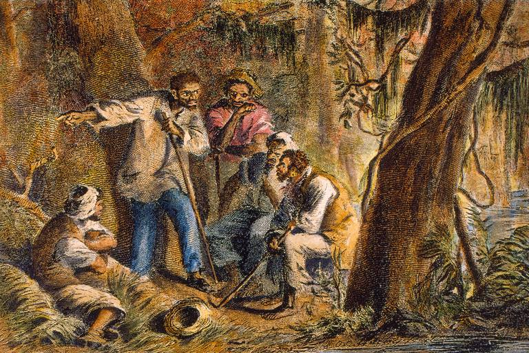 Full color drawing of Nat Turner and other slaves in a forested area.