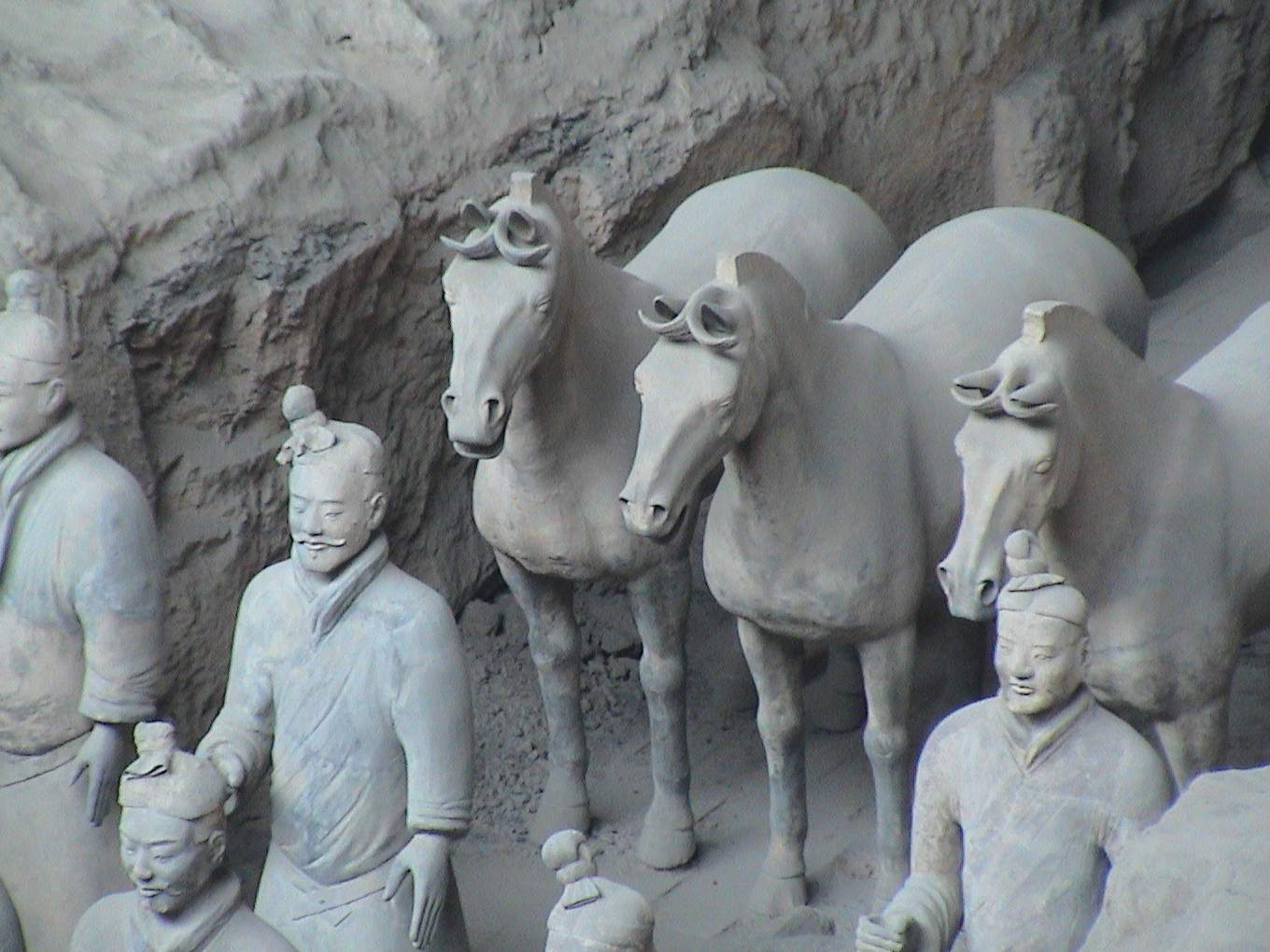 Terracotta soldiers and horses.