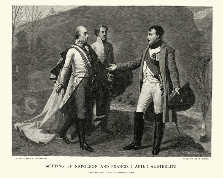 Drawing of Meeting of Nepoleon and Francis I After Austerlitz