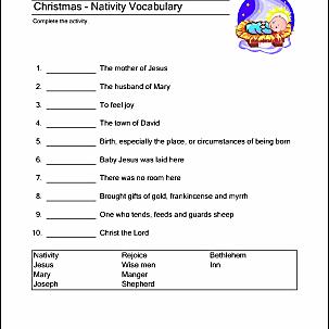 print the pdf christmas nativity vocabulary sheet introduce your children