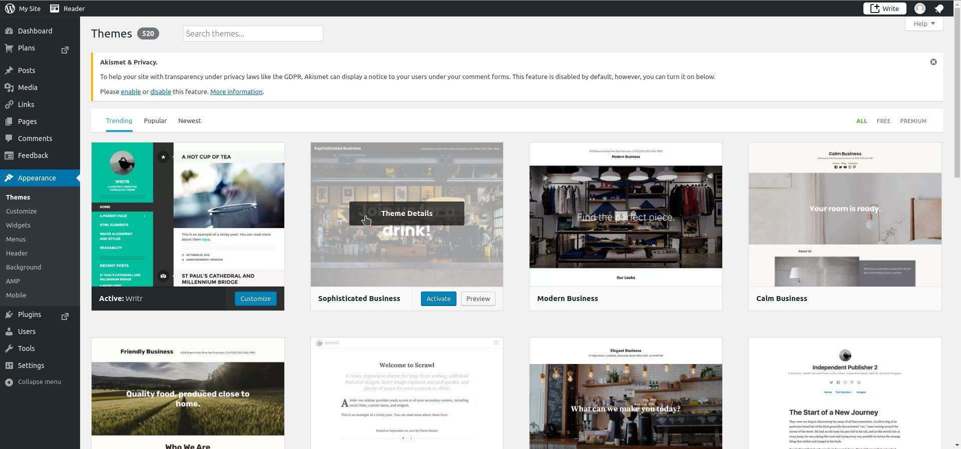 The Themes Screen Displays Free Themes You Can Use For Your Blog