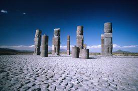 Mexico, Tula, Toltec ruins large stone statues.