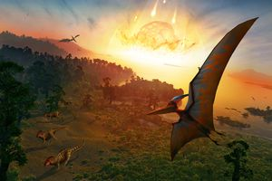 Artwork depicting extinction of dinosaurs