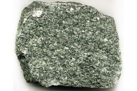 This rock contains a large percentage of chlorite, exhibiting its typical green color