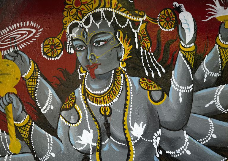 Wall painting of Shiva, Delhi, India