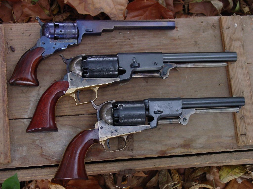 Reproduction examples of early Colt revolvers: Colt Paterson, Colt Walker, Colt 3rd Variation Revolving Holster Pistol (Dragoon)