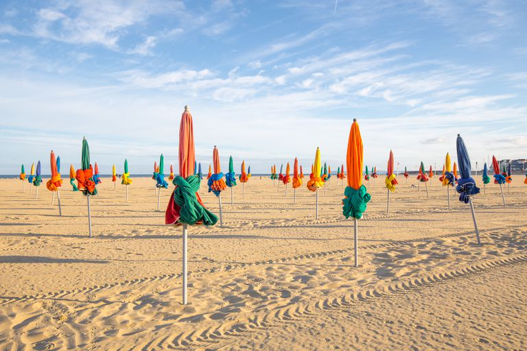 The famous colorful parasols on Deauville Beach, Normandy