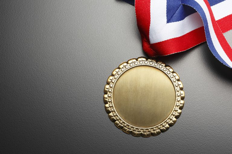 blank medal on gray background