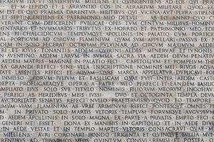 Latin words carved into marble
